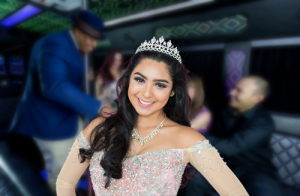 San Diego Quinceanera Sweet 16 Bus Rentals, Limo Rentals, white limousine, party bus, shuttle, charter, sedan, sweet 16, birthday, transfers, one way, round trip, venue, events, Pink Limo